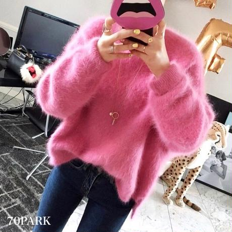#Long Sleeve Shaggy Knit  ルーズフィット ボリューム シャギー ニット 全2色 セーター