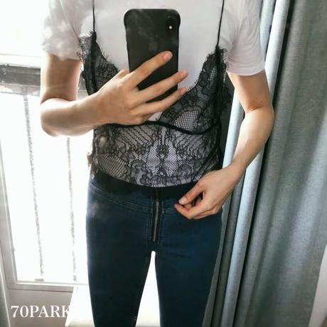 #Lace Layer T-shirt  レース キャミ レイヤード風 Tシャツ 全2色