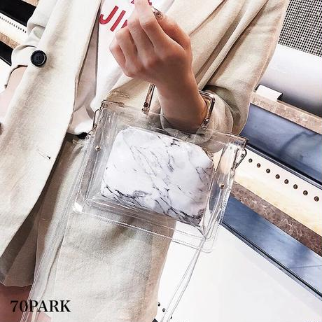 #2way PVC Marble Shoulder Bag  大理石柄 ポーチ付き PVC クリア バッグ 全2色