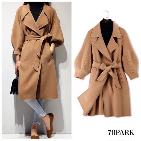 #Balloon Sleeve Wrap Coat  バルーン袖 ロング ガウンコート 全5サイズ ベージュ ロングコート ラップコート