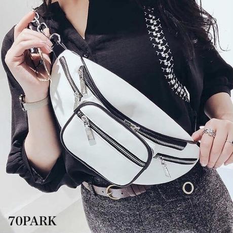 #Silver Chain Waist Pouch Bag シルバーチェーン パイピング ウエストポーチバッグ 全2色