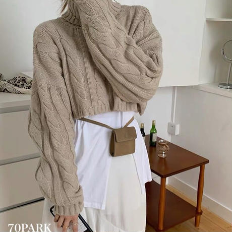 #Cable Knit Crop Top ショート丈 タートルネック ケーブル編み ニット 全3色