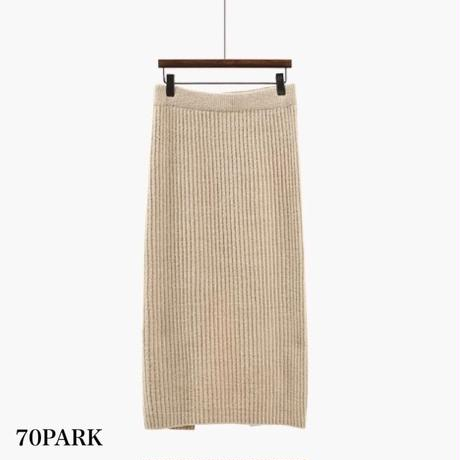 #Two Piece Mock Neck Knit Skirt Set モックネック ニット × リブ スカート セットアップ 全2色