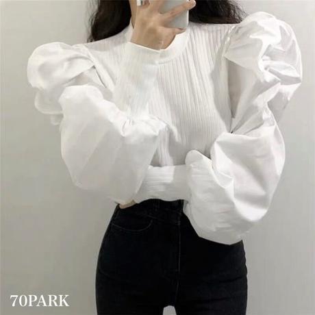 #Volume Sleeve Blouse  スーパー ボリューム袖 リブ ブラウス 全2色