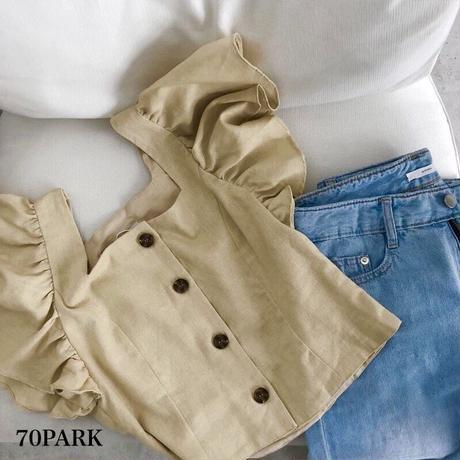 #Button Down Linen Shirt  フロント ボタン 袖フリル リネン ブラウス  全2色