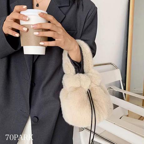 #カラー フェイクファー 巾着 ミニ ショルダー バッグ 全7色