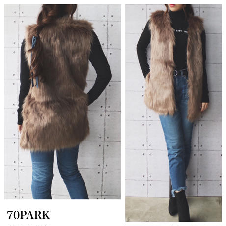 # Long Fur Vest ロング ファーベスト  全4色 アウター ファーコート