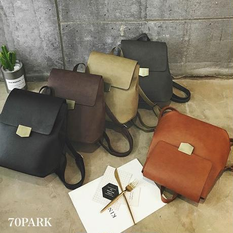 #Vintage Leather Backpack ヴィンテージ風 PUレザー ゴールド金具 バックパック 全5色