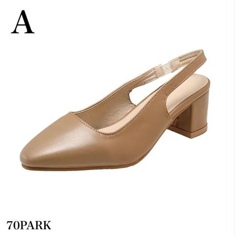 #Slingback Faux Leather Heel Shoes フェイクレザー スリングバック シューズ 全2色