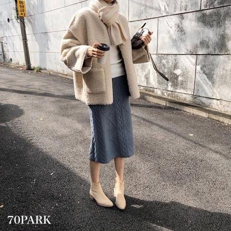 #Cable Knit Midi Skirt  ケーブル編み ミディ丈 ニット スカート 全4色
