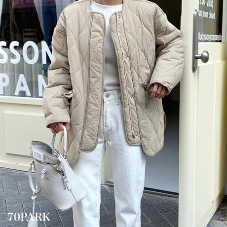 #Collarless  Padded Jacket ノーカラー ウエストシェイプ キルティング ジャケット 全5色