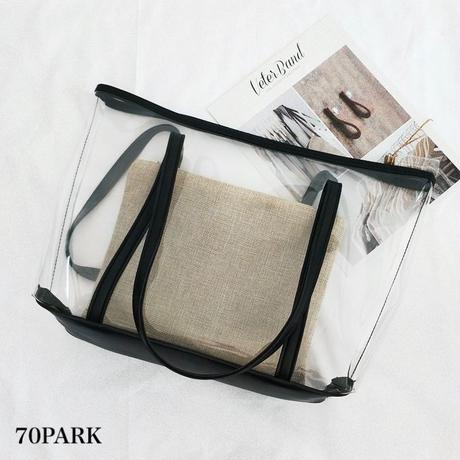 #Clear Tote Bag with Pouch  リネン ポーチ付き クリア A4 トートバッグ 全2色