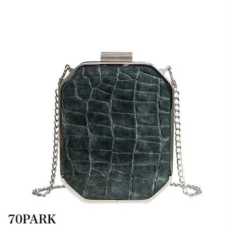 #Crocodile Embossed Faux leather Bag クロコ 型押し 六角形 チェーンバッグ 全2色 パーティーバッグ