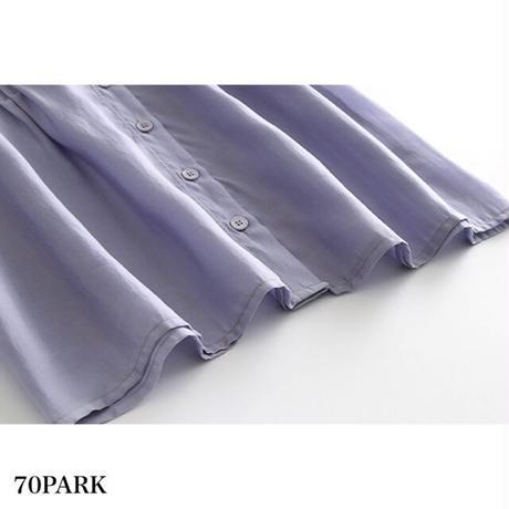 #Volume Sleeve Blouse  ボリューム袖 半袖 前開き ブラウス 全2色