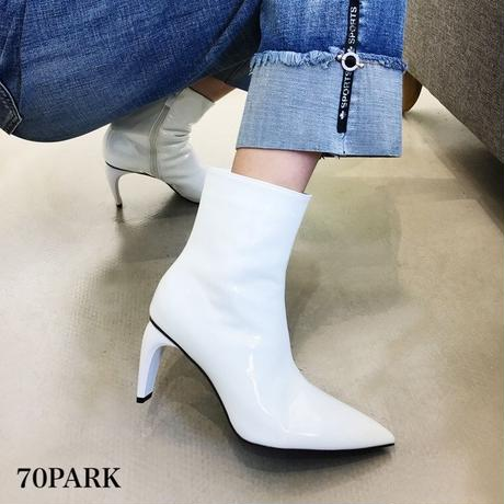 #Faux Patent‐Leather Pointed Toe Boots  変形ヒール カラー エナメル アンクル ブーツ 全3色