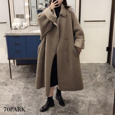 #Double Breasted Oversized Boa Coat  ベルト付 オーバーサイズ  ダブルボタン ボア コート 全2色