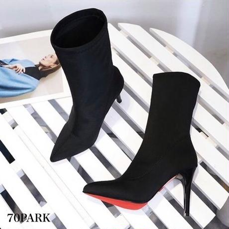 #High Heel Ankle Sock Boots  ハイヒール ストレッチ ソックブーツ 黒 ソックスブーツ