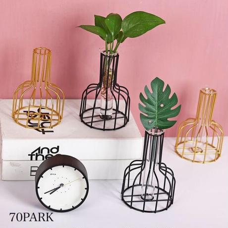#ゴールド アイアン ワイヤー フレーム 花瓶 全2色 一輪挿し