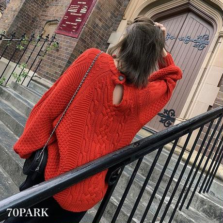 #Open Back Cable Knit Sweater 背中開き ケーブル編み ニット セーター 全4色