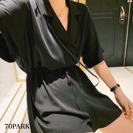 #Black Open Collar Jumpsuit   ブラック オープンカラー  半袖 オールインワン 全2タイプ