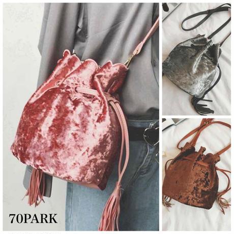 #Crushed Velvet Bucket Bag クラッシュ ベロア スカラップ ミニ 巾着 ショルダーバッグ 全3色