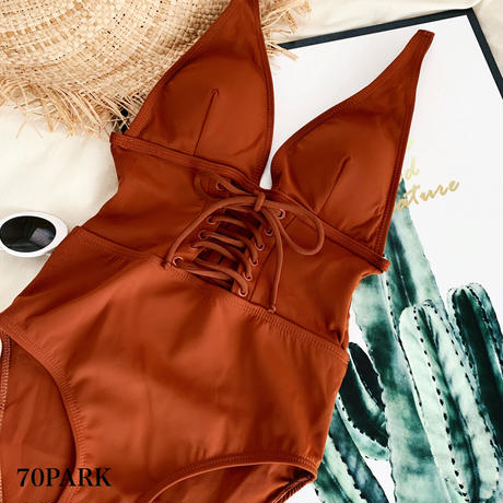 #Lace-up V Front Swimsuit  深V ウエスト レースアップ ワンピース 水着 モノキニ