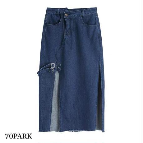 #Slit Denim Skirt  ハイスリット ガーター風 ハイウエスト デニム スカート