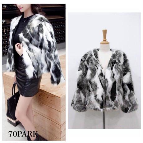 # Gray Mix Eco Fur Coat  グレー ミックス エコ ファー コート フェイクファー