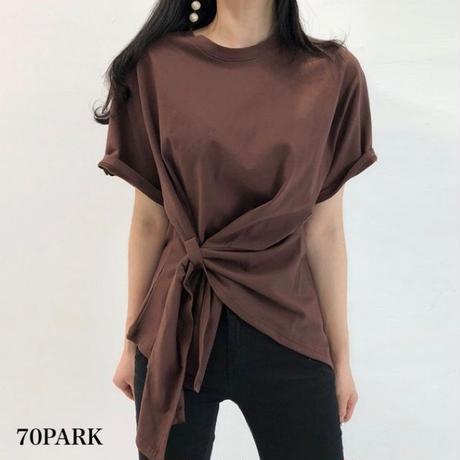 #Twist Front T-shirt  フロント ツイスト アシンメトリー 半袖 Tシャツ 全3色