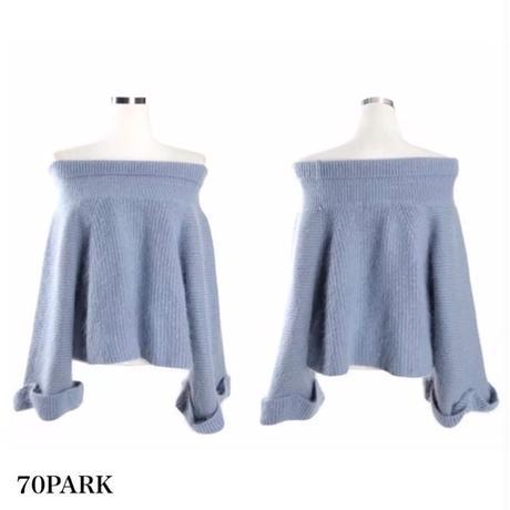 #Off The Shoulder Bell Sleeve Knit Top オフショルダー フレアスリーブ ニット  全4色 シャギー