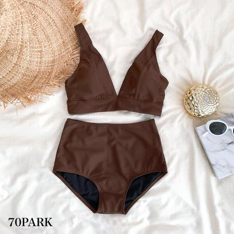 #High Waisted Bikini  深V シンプル ハイウエスト ビキニ  全3色 水着
