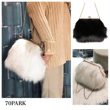 #Metal Clasp Fur Bag  がま口 チェーン ファー バッグ 全2色  ショルダーバッグ