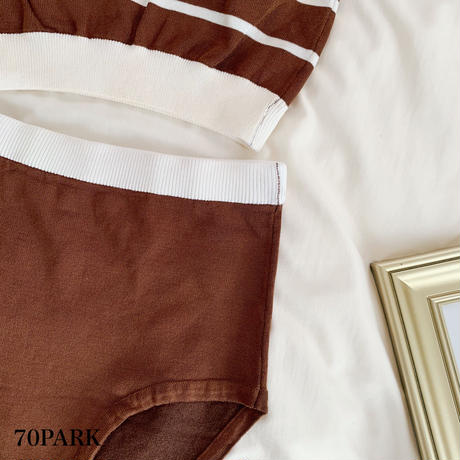 #Striped Knit Bikini  ボーダー柄 ニット ハイウエスト ビキニ 全2色 水着