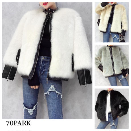 #Faux Fur Leather Jacket   全3色  エコファー レザー切り替え ジャケット 全4色 ファーコート