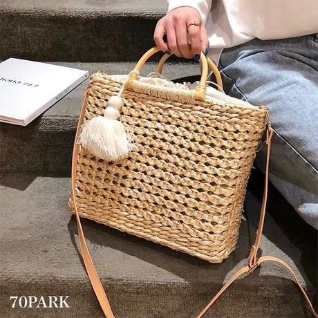 #2way Square Basket Bag   タッセル付 スクエア かご ショルダーバッグ