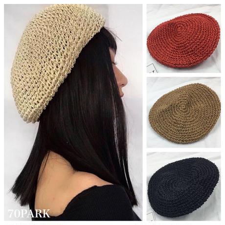 #Paper Material Beret  ペーパー素材 ベレー帽 全5色  麦わら ベレー