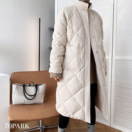 #Stand Collar Padded Coat ベルト付き スタンドカラー 中綿 ロング コート 全2色