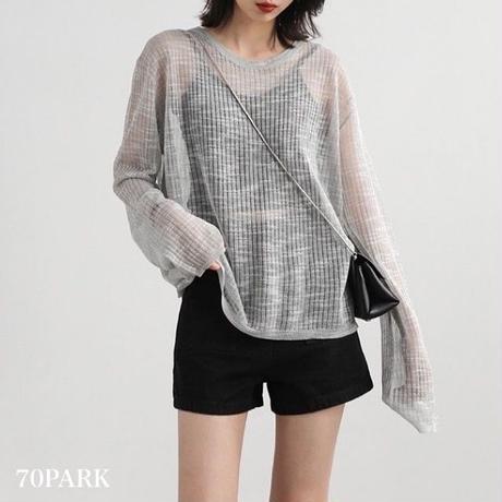 #See Through Knit Top シースルー 薄手 ニット 長袖 カットソー 全3色