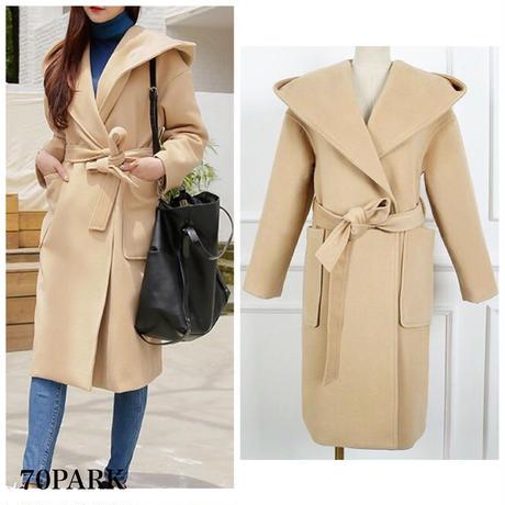 #Hooded Gown Coat  フード付き ガウンコート ベージュ ラップコート