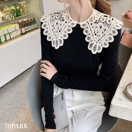 #Lace Detachable Collar  ビッグカラー 透かし レース  付け襟 ホワイト