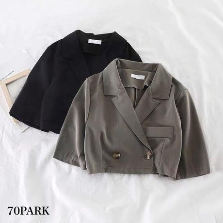 #Cropped Short Sleeve jacket  クロップド 半袖 ジャケット 全2色 ショート丈
