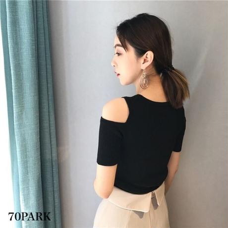 #Ribbed Cut Out Shoulder Top ショルダー カットアウト 半袖 リブ トップス 全4色