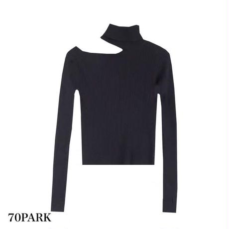 #High Neck Cutout Shoulder Ribbed Top  ワンショルダー カットアウト リブ 長袖 トップス  全3色
