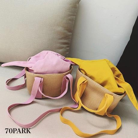 #3way Color Basket Bag  インナーバッグ付き カラー かごバッグ 全4色 ショルダーバッグ