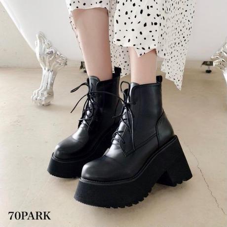#Chunky Heel Lace UP Platform Boots  レースアップ ボリューム 厚底 アンクル ブーツ 黒