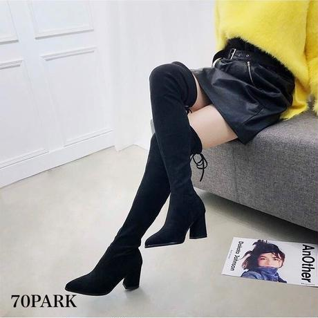 #Faux Suede Thigh-High Boots  スエード調 リボン 太ヒール ニーハイ ブーツ ブラック サイハイ