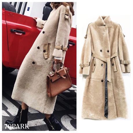 #Maxi Faux Fur Coat  マキシ丈 エコファー トレンチ コート ベージュ