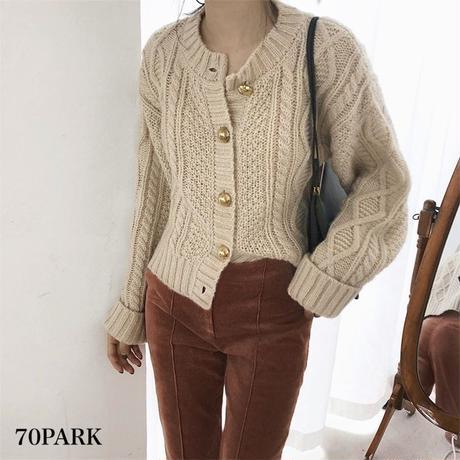 #Cable Knit Cardigan Sweater  ゴールドボタン ショート ケーブルニット カーディガン 全2色