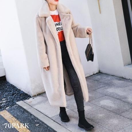 #Tailored  Faux Fur Coat  テーラードカラー エコファー ロング コート 全5色