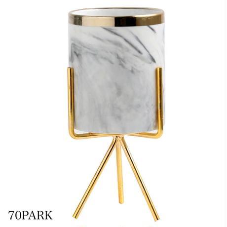 #大理石調 ゴールド 脚付き 筒型 ブラシスタンド 全4色 ペン立て